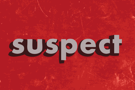 suspect: suspect vector word on red concrete wall Illustration