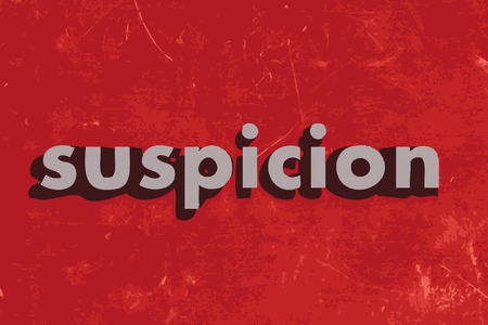 suspicion: suspicion vector word on red concrete wall Illustration