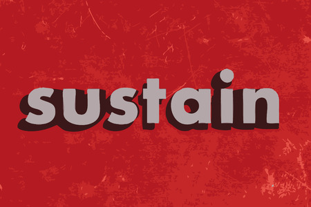 sustain: sustain vector word on red concrete wall