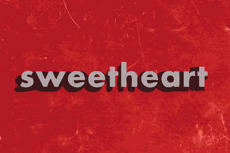 sweetheart vector word on red concrete wall