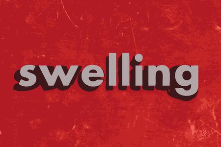 şişme: kırmızı beton duvara vektör sözcük şişlik Çizim