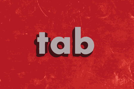 tab: tab vector word on red concrete wall