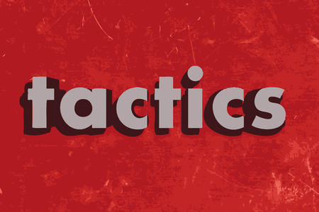 tactics: tactics vector word on red concrete wall Illustration
