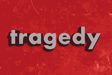 tragedy: tragedy vector word on red concrete wall Illustration