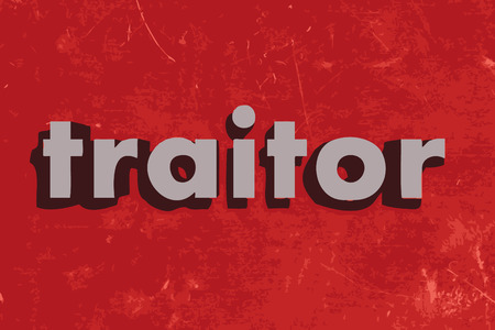 traitor: traitor vector word on red concrete wall Illustration