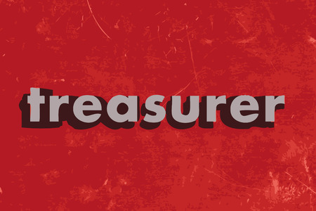 treasurer: treasurer vector word on red concrete wall Illustration