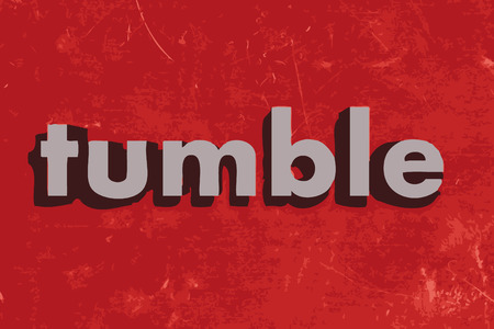 tumble: tumble vector word on red concrete wall