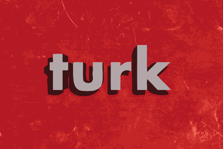 turk: turk vector word on red concrete wall
