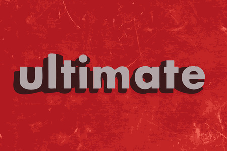 ultimate: ultimate vector word on red concrete wall