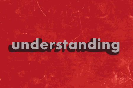an understanding: understanding vector word on red concrete wall