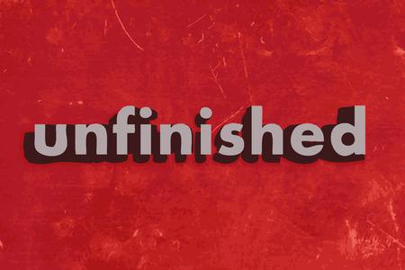 unfinished: palabra vector sin terminar en rojo muro de hormig�n