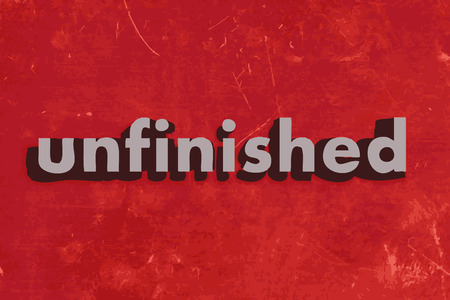 uncompleted: unfinished vector word on red concrete wall Illustration