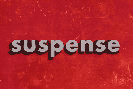 suspens: mot de vecteur suspense sur le mur de b�ton rouge
