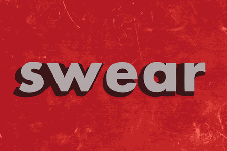 swear: swear vector word on red concrete wall Illustration