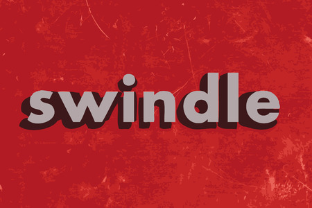 swindle: swindle vector word on red concrete wall Illustration