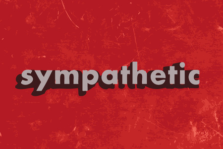 sympathetic: sympathetic vector word on red concrete wall