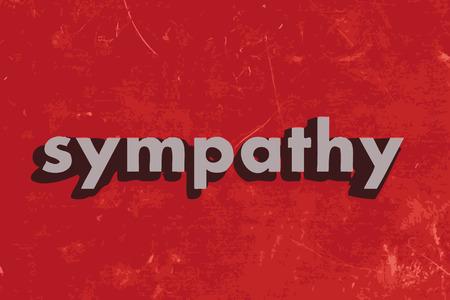 sympathy: sympathy vector word on red concrete wall