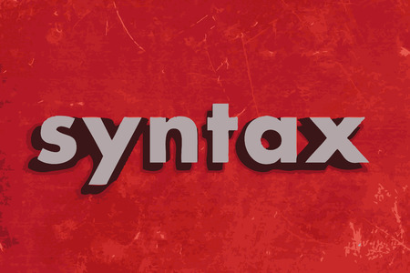 syntax: syntax vector word on red concrete wall