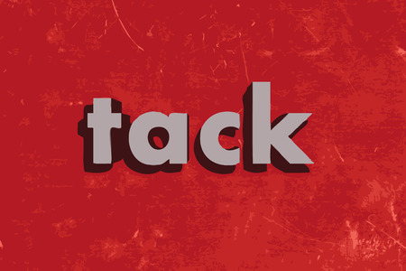tack: tack vector word on red concrete wall