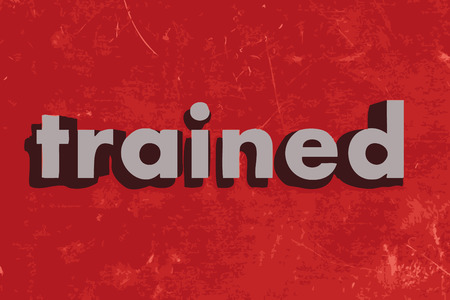 trained: trained vector word on red concrete wall Illustration