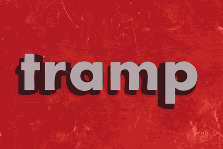 tramp: tramp vector word on red concrete wall