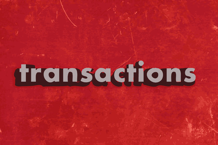transakcji: transactions vector word on red concrete wall Ilustracja