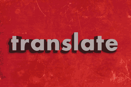 translate: translate vector word on red concrete wall