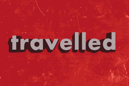 travelled: travelled vector word on red concrete wall Illustration