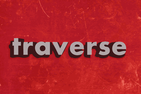 traverse: traverse vector word on red concrete wall