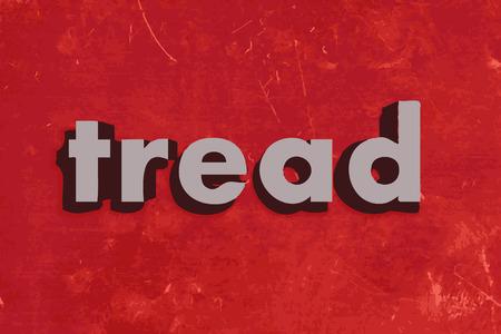 banda de rodamiento: pisar palabra vector en rojo muro de hormig�n