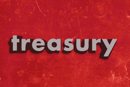 treasury: treasury vector word on red concrete wall Illustration