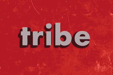 tribu: palabra tribu vector en rojo muro de hormigón