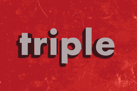 triple: triple vector word on red concrete wall Illustration