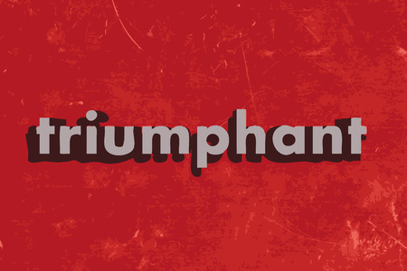 triumphant: triumphant vector word on red concrete wall