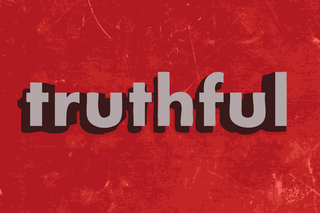 truthful: truthful vector word on red concrete wall Illustration
