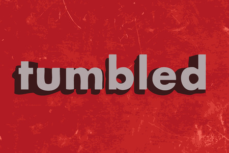 tumbled: tumbled vector word on red concrete wall