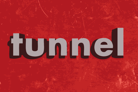 tunnel: tunnel vector word on red concrete wall Illustration