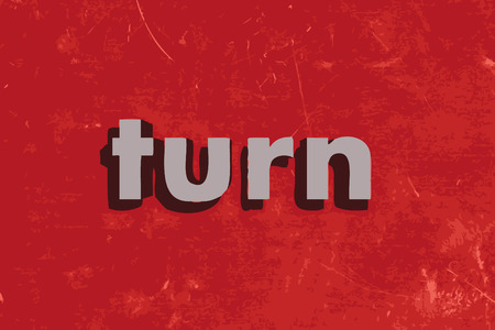 turn: turn vector word on red concrete wall
