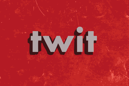 twit: twit vector word on red concrete wall