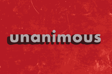 unanimous: unanimous vector word on red concrete wall Illustration