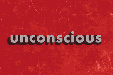 the unconscious: unconscious vector word on red concrete wall Illustration