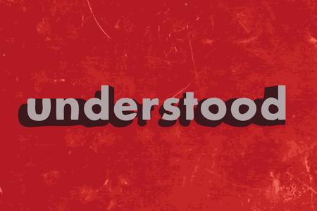 understood: understood vector word on red concrete wall Illustration