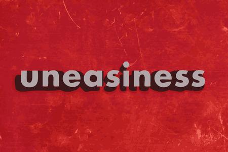 uneasiness: palabra vector malestar en rojo muro de hormig�n Vectores