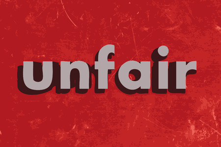 unfair: unfair vector word on red concrete wall