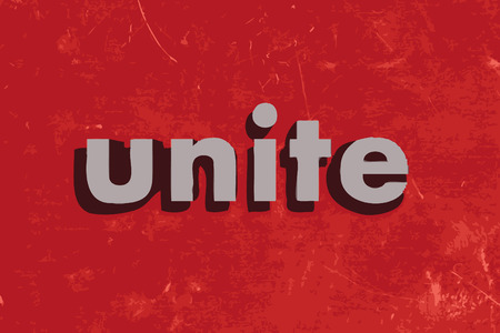unite: unite vector word on red concrete wall