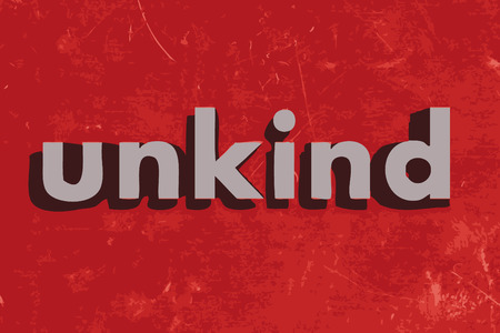 unkind: unkind vector word on red concrete wall