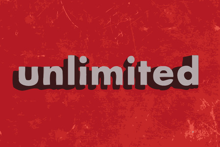 unlimited: unlimited vector word on red concrete wall