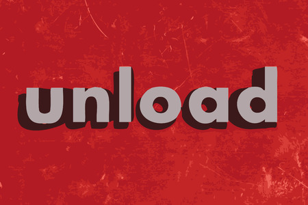 unload: unload vector word on red concrete wall Illustration