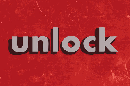 unlock vector word on red concrete wall Illustration