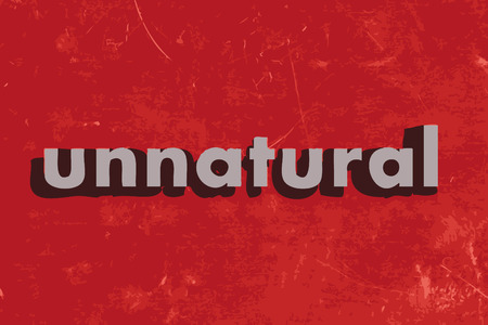 unnatural: unnatural vector word on red concrete wall Illustration